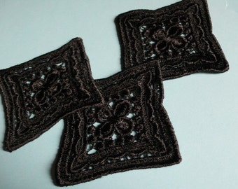 3 Venice Lace Applique Squares in Black for Costumes, Garments