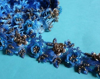 Blue Moon Beaded Trim  Sequined Satin Flower Trim forC outure, Costume or Jewelry Design