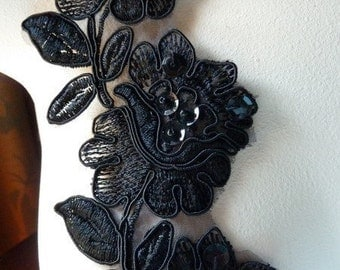 6 Black Flowers Lace Appliques Beaded Trim for Lyrical Dance, Jewelry or Costume Design BRI 15sbl