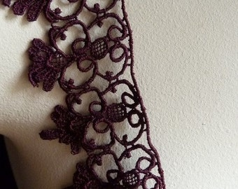 Burgundy Plum Lace for Garments, Appliques, Jewelry or Costume Design CL 5032