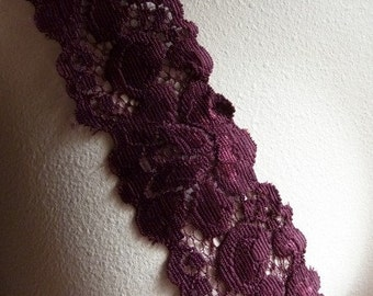 3 yds Burgundy Plum Stretch Lace for Lingerie, Headbands, Altered Couture STR 1013
