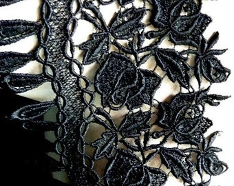 Black Lace Venice Lace for Applique, Corsets, Costume or Jewelry Design L 3009lg