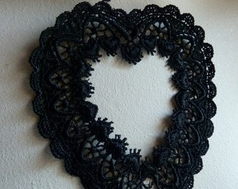Venice Lace Heart Applique in Black for Altered Art or Couture, Scrapbooking, Valentines Day
