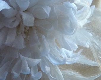 White Silk Flower Large Chrysanthemum with Feathers for Bridal, Corsages, Floral Supply MF 106