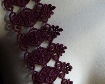 Burgundy Lace Trim  Guipure Venise Lace for Jewelry Design, Appliques, Costumes CL 5004