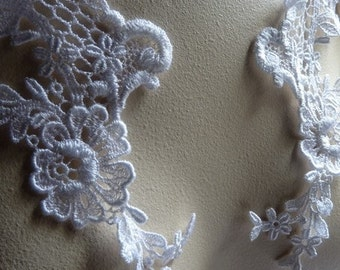 White Lace Applique PAIR Dyeable Venise Lace for Bridal, Jewelry, Costumes,Garments PR 103
