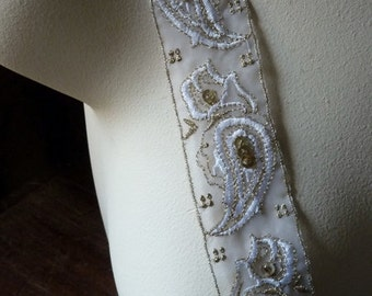 Gold Beaded Trim in Gold& White Paisley for Bridal, Costume Design TR 203