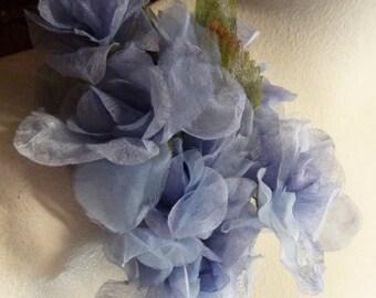 SALE Alice Blue Silk Flowers in Organza for Bridal, Hats, Headbands