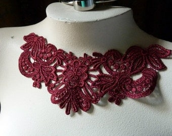 BURGUNDY Lace Applique for Lyrical Dance, Jewelry Supply, Costume Design CA 100 b