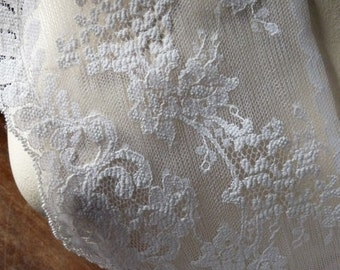 SALE 2 yds. Chantilly Lace in Soft White for Bridal, Veils, Costumes CH 604