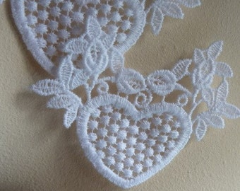 SALE 5   Hearts and Flowers Appliques in White for Headbands,  Costume or Jewelry Design  WA 645
