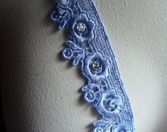 Beaded Lace in Periwinkle for Garments, Costumes CL 5041