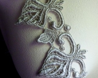 Venice Lace Trim in Sage Gray for Appliques, Jewelry or Costume Design, Bridal, Altered Couture CL 5000