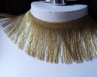 Metallic Gold Fringe ONE THIRD yard no. 2 for Home Decor, Holiday Crafting, Costume Design