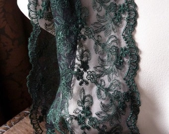 SALE Green Black Lace with Embroidery for Ruffles, Cuffs and Costumes CL 5030gr