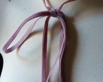 3 yds. Mauve Velvet Ribbon VERY Narrow for Bridal, Garlands, Floral & Millinery VL 155