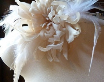 Ivory Silk Flower Large Chrysanthemum with Feathers for Bridal, Corsages, Floral Supply