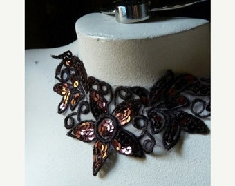 Beaded Lace Applique in Chocolate Brown Venice Lace for Lyrical Dance, Lace Jewelry, Costume Design  SBLA 415