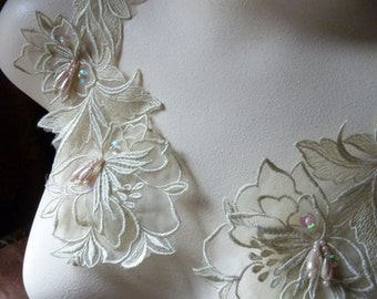 Beaded Applique Pair in Green Tea Organza for Altered Couture,  Costume Design PR 30green tea