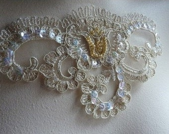 Beaded Lace Applique in Gold Metallic for DIY Weddings, Bridal, Costume Design BRI 7