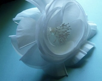 WHITE Silk Flower Millinery Rose with Pleated Petals for Bridal, Hats, Corsages, Floral Design