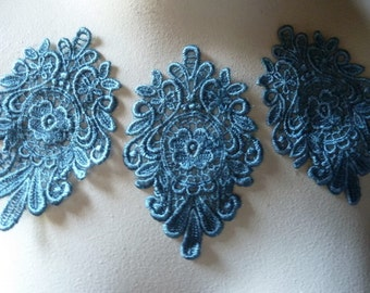 3  Blue Appliques Medallion Motif Deep Wedgewood for Lyrical Dance, Headbands, ,Costume Design