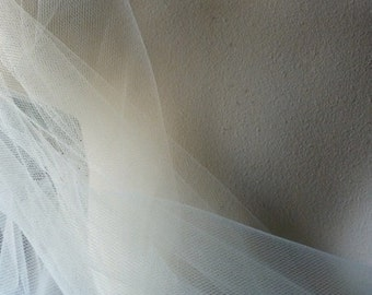 "4 yds. Pale Ivory Tulle Illusion 54"" wide American made for Veils, Birdcage Veils, Garters, Hats"