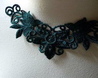 3 Lace Appliques in Hunter Green Venice Lace for Statement Necklaces, Jewelry Supply, Altered Couture, Costume Design CA 103