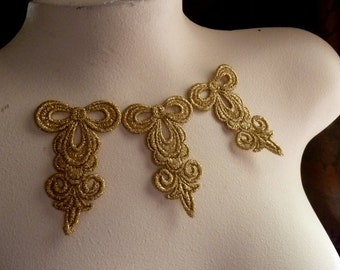 3  Metallic Gold Venice Lace Appliques for Lyrical Dance, Bridal, Jewelry Supply, Costume Design CA 799