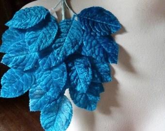 Vintage Japanese Velvet Millinery Leaves in Teal for Bridal, Hats, Brooches, Fascinators, Scrapbooking ML 74