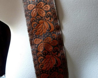 Embroidered Ribbon Trim in Olive and Pumpkin Orange for Holiday Crafts, Costume or Jewelry Design, Home Decor  TR 205