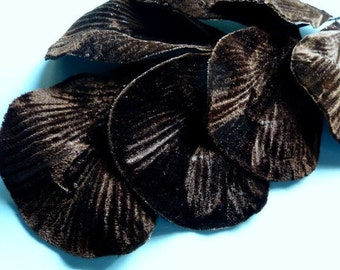 Velvet Leaves Large Chocolate Brown for Millinery, Fascinators, Floral Supply, Sashes, Costume Design ML 77