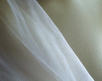 "Ivory Silk Tulle Illusion from England 72"" wide for Veils, Gowns, Garments"