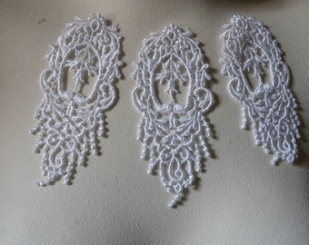 3 White Lace Appliques  in Venice Lace for Bridal, Jewelry Supply, Costume Design