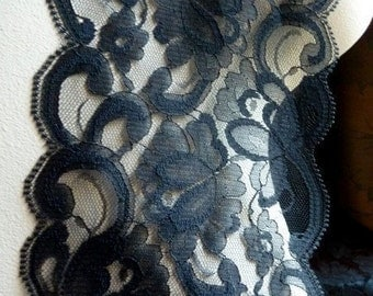 Black Lace 2 yds. Chantilly Style for Black Bridal, Garment, Costume or Jewelry Design  CH  519