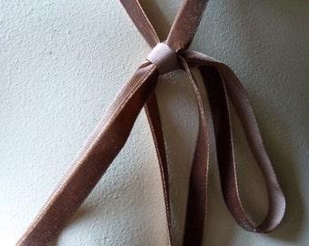 2 yds Velvet Ribbon. in Mocha Autumn Rose for Costume Design, Floral Supply, Altered Art or Couture, Millinery VL 95