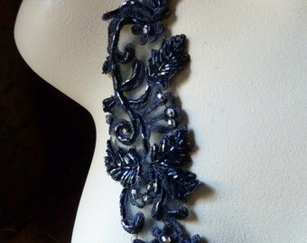 SECONDS - 2 Midnight Blue  Beaded Appliques for Lyrical Dance, Flappers, Costume Design CA 601