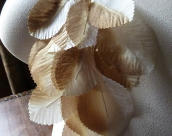 Millinery Leaves in Tan Silk for Bridal, Fascinators, Headbands, Crafts ML 124
