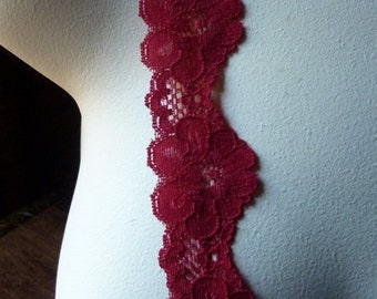 Stretch Lace 2 yds. Scalloped in Holiday Red for Lingerie, Headbands, Altered Couture  STR 1423r