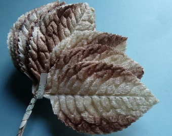 Velvet Leaves 12 Vintage Japanese in Beige and Mocha for  Altered Art, Corsages, Bouquets, Scrapbooking, Hats ML 94