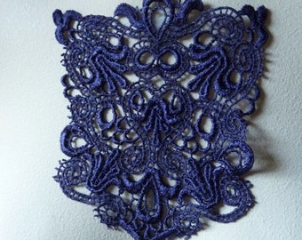 Lace Applique in Royal Purple for  Jewelry or Costume Design, Pockets  CA 796prpl