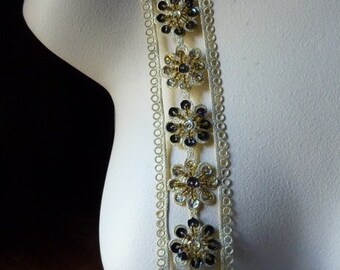 """Beaded Trim 18"""" in Gold Metallic for Applique, Tribal Fusion, Costumes, Headbands, Crafts"""