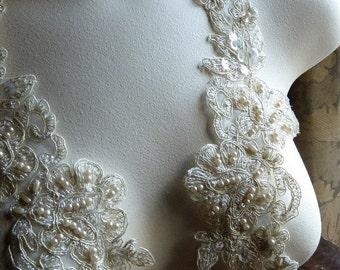 SALE Gold Lace Applique Beaded Applique for Lyrical Dance,  Bridal, Headbands, Sashes, Costume Design PR 123