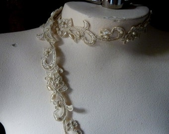 Champagne Gold Beaded Trim Lace for Lyrical Dance, Bridal,  Headbands, Costume or Jewelry Design  BL 4036