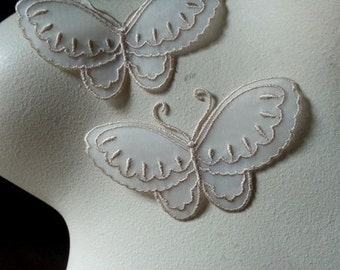 3 Butterfly Appliques in Palest Beige Blush Iron On BF