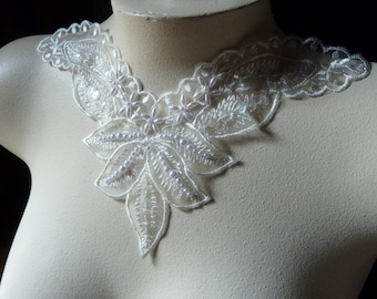 SALE Beaded Lace Applique in Organza for Bridal, Headbands, Costume Design IA 604