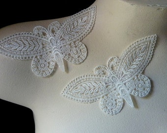 2 Butterfly Appliques in Ivory Venice Lace for Scrapbooking, Embellishing, Jewelry or Costume Design AM 10