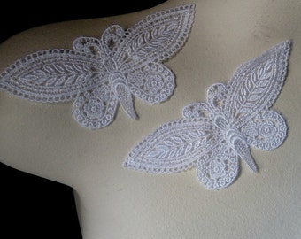 2 Butterfly Appliques in White Venise Lace American made  for Applique, Crazy Quilts, Scrapbooking, Jewelry or Costume Design AM 9
