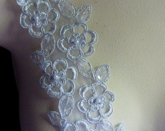 Silver Beaded Lace Trim with Faux Pearls for Lyrical Dance, Bridal, Veils, Garter Trim, Sashes, Costumes BL 4001slvr