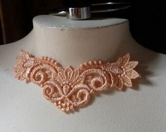 SALE  Lace Applique in Orange Sorbet for Jewelry Design, Applique CA 205